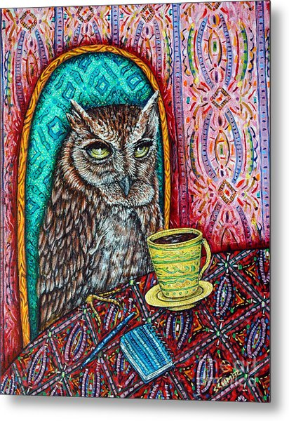 Owl At The Cafe Metal Print by Jay  Schmetz