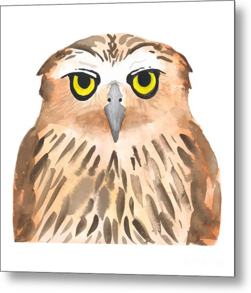 Owl Bird. Watercolor, Vector Metal Print