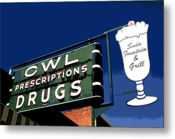 Owl Drugs  Metal Print
