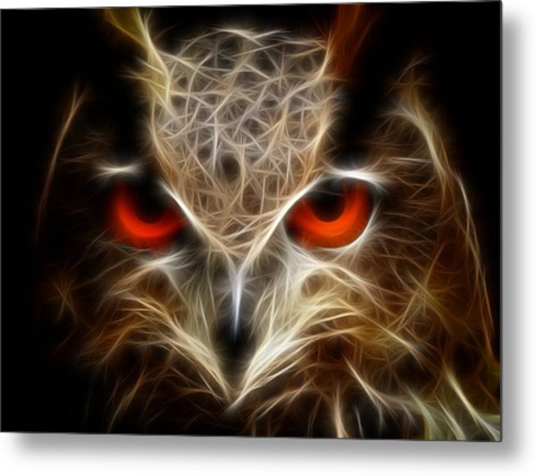 Owl - Fractal Artwork Metal Print