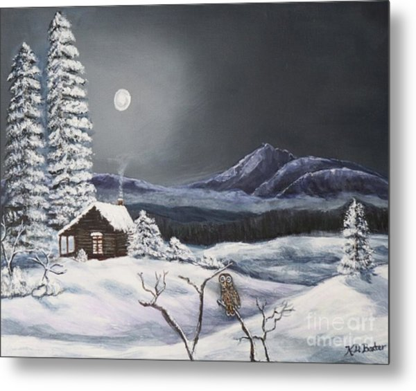 Owl Watch On A Cold Winter's Night Original  Metal Print