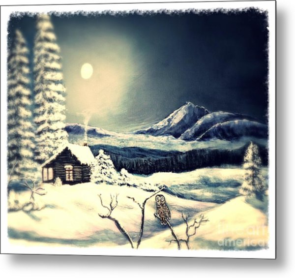 Owl Watch On A Cold Winter's Night Metal Print