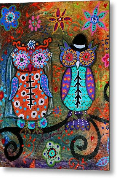 Owl Wedding Dia De Los Muertos Metal Print