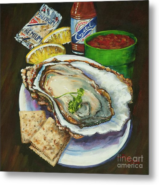 Oyster And Crystal Metal Print