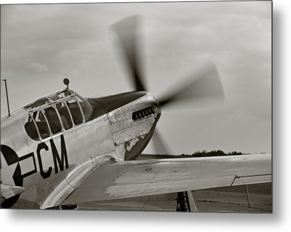 P51 Mustang Takeoff Ready Metal Print