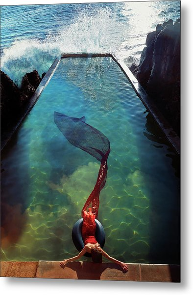 Pacific Islander Woman In Mermaid Metal Print by Colin Anderson Productions Pty Ltd