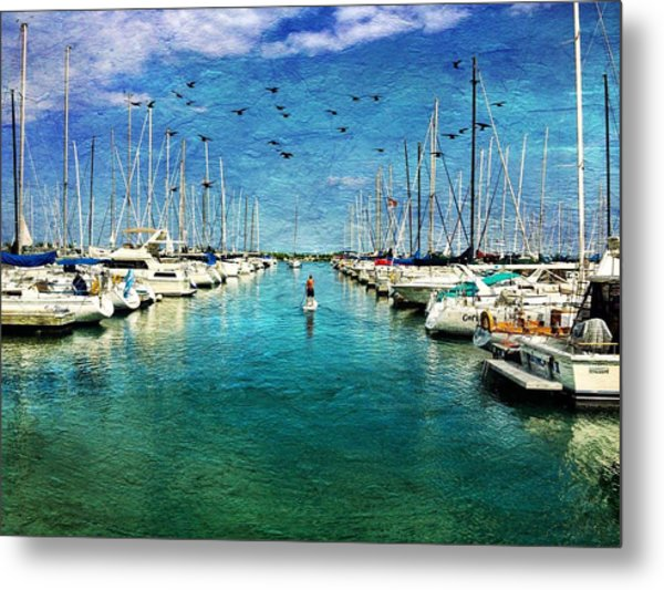 Paddle Boarder  In The Harbor Metal Print