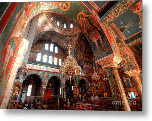Pagrati Athens Church Interior 4 Metal Print