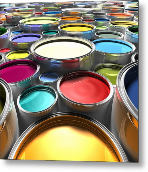 Paint Cans With Open Lids (digital) Metal Print by Ian McKinnell