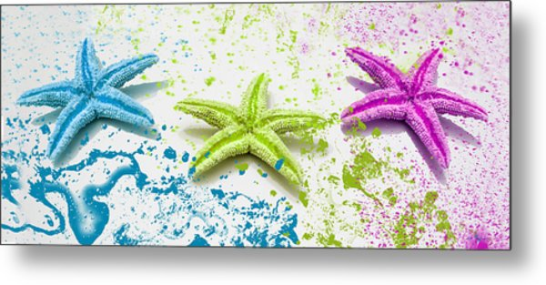 Paint Spattered Star Fish Metal Print