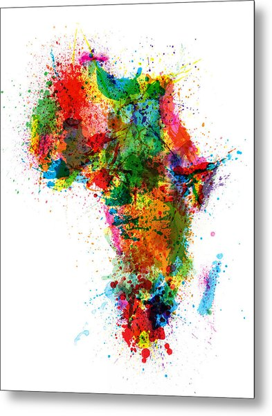 Paint Splashes Map Of Africa Map Metal Print