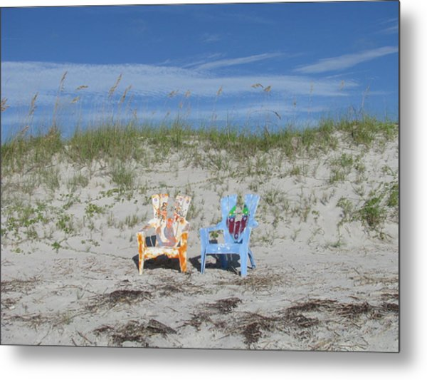 Painted Beach Chairs Metal Print