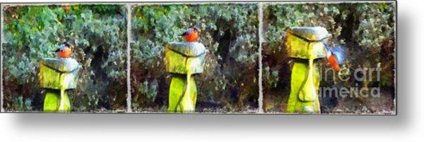 Painted Bullfinch Trio Metal Print