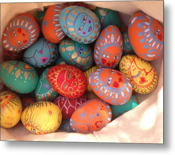 Painted Eggs Metal Print