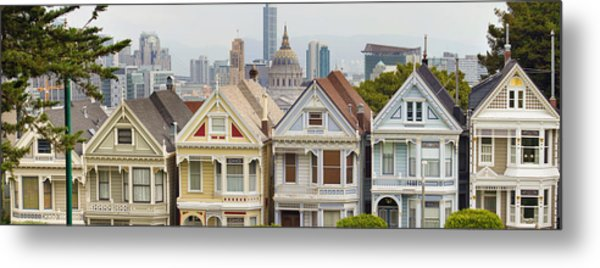 Painted Ladies Row Houses By Alamo Square Metal Print