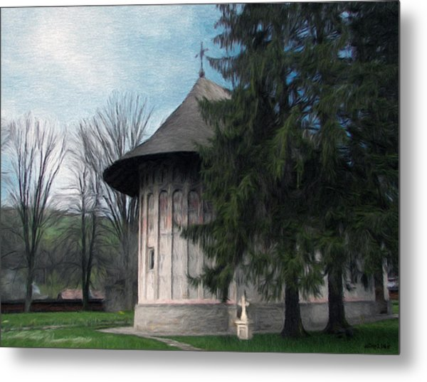 Painted Monastery Metal Print