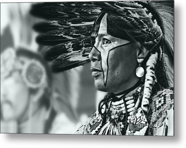 Painted Native In Silver Screen Tone Metal Print by Scarlett Images Photography