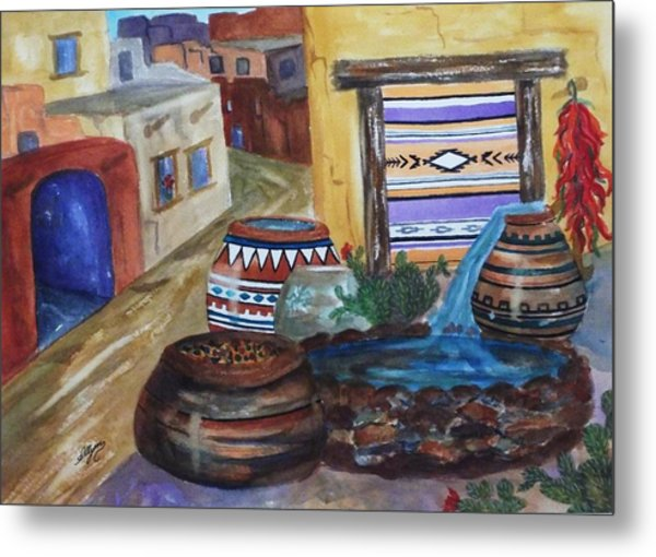 Painted Pots And Chili Peppers II  Metal Print