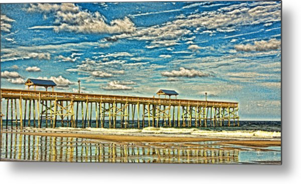 Surreal Reflection Pier Metal Print