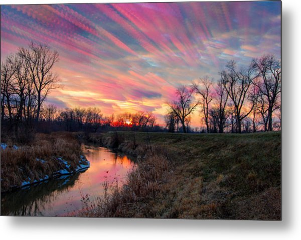 Painted Sky Of Pink And Blue Metal Print