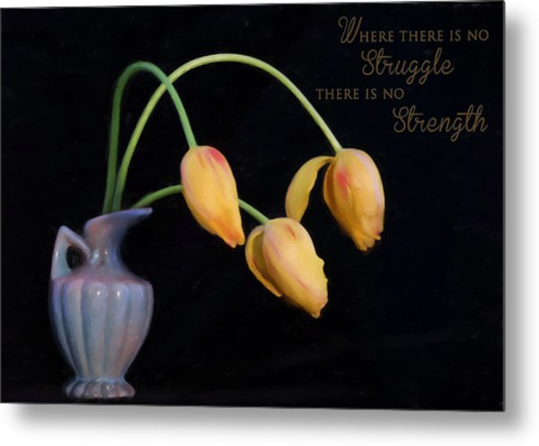 Painted Tulips With Message Metal Print
