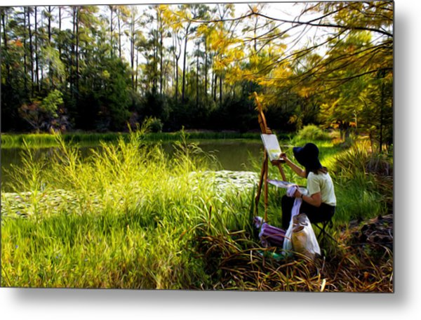 Painting At The Pond Metal Print