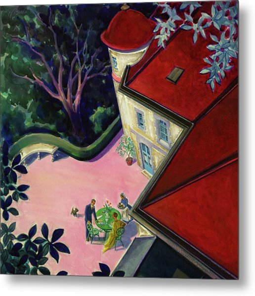 Painting Of A House With A Patio Metal Print