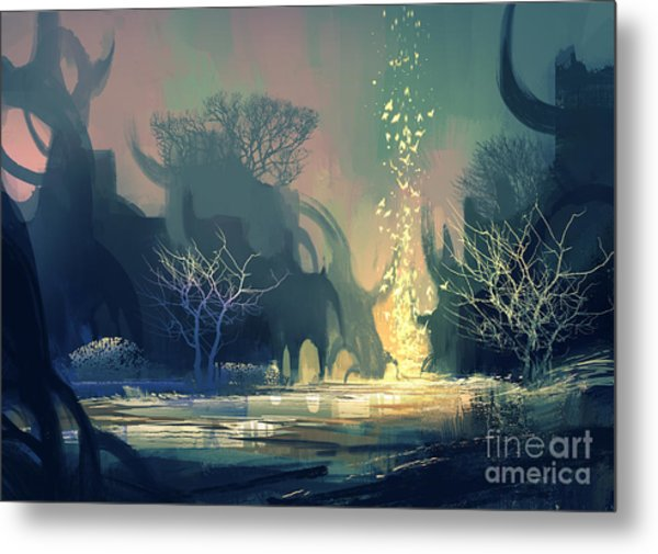 Painting Of Fantasy Landscape With Metal Print