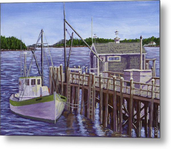 Fishing Boat Docked In Boothbay Harbor Maine Metal Print
