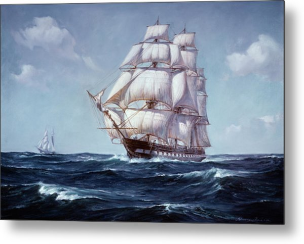 Painting Of The Square Rigged Frigate Metal Print