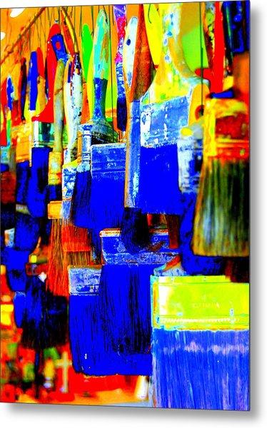 Painting Paintbrushes  Metal Print by Mamie Gunning