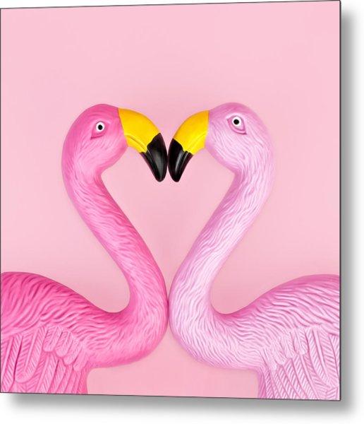 Pair Of Flamingos Metal Print