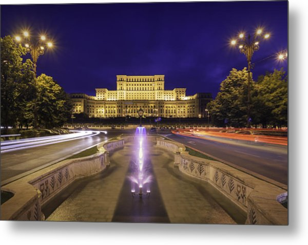 Palace Of Parliament At Night Metal Print by LordRunar