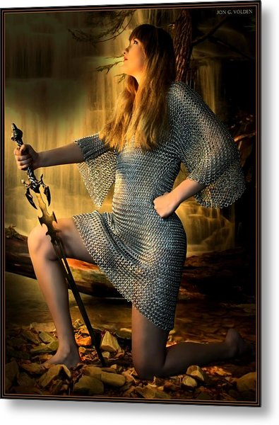 Paladin In Prayer Metal Print