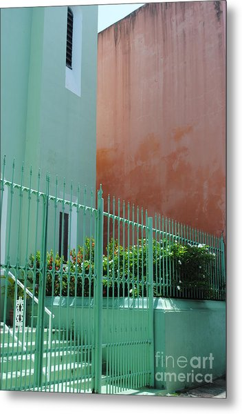 Pale Green With Pink Walls Metal Print