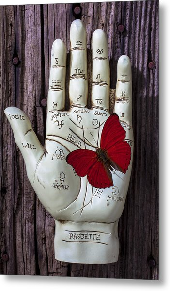 Palm Reading Hand And Butterfly Metal Print