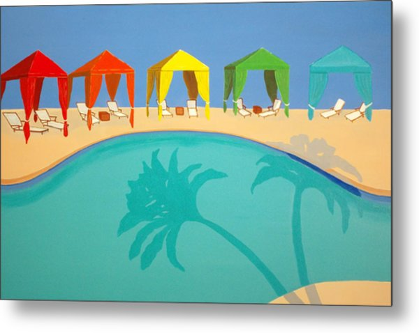 Palm Shadow Cabanas Metal Print
