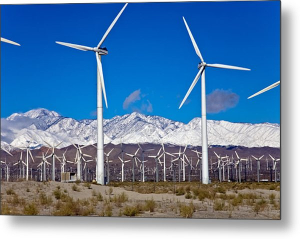 Palm Springs Snow Covered Mountains Metal Print