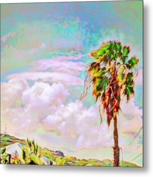 Palm Tree Against Pastel Sky - Square Metal Print