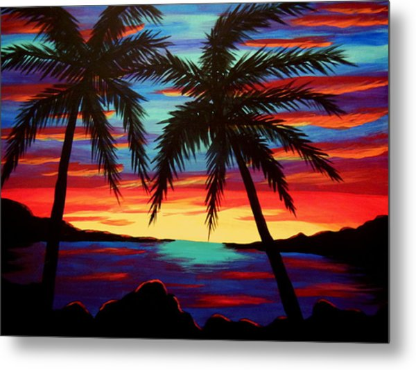 Palm Tree Sunset Metal Print by Virginia Forbes