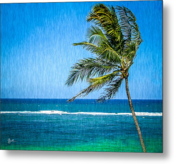 Palm Tree Swaying Metal Print