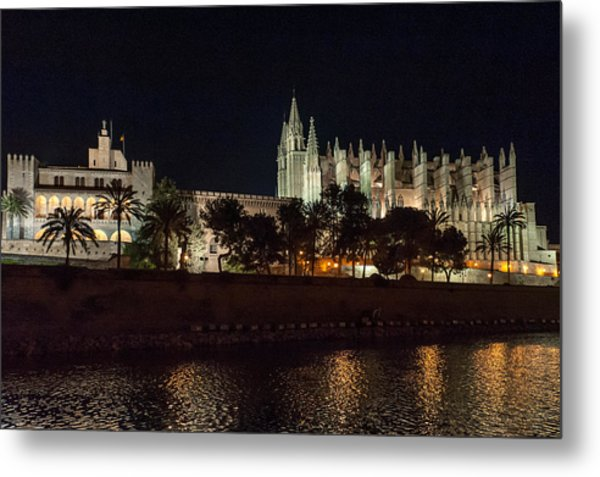 Palma Cathedral Mallorca At Night Metal Print