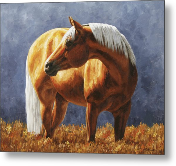 Palomino Horse - Gold Horse Meadow Metal Print