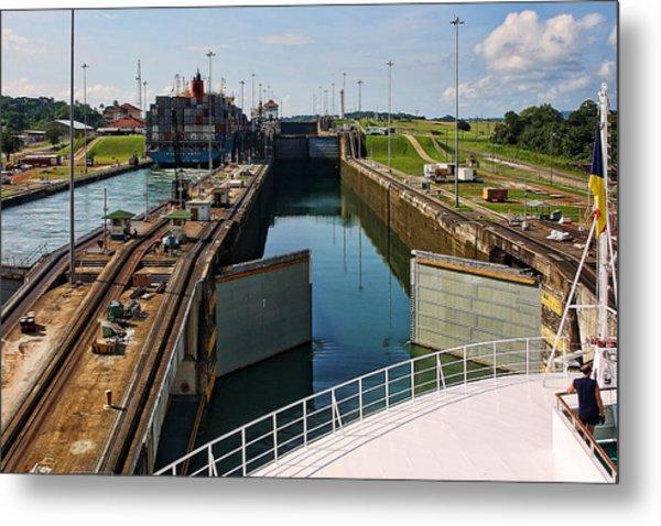 Panama Canal Locks With Ships Metal Print
