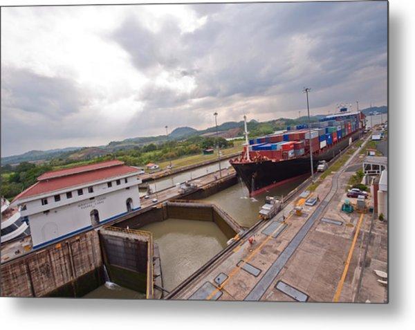 Panama Canal Miraflores Locks Metal Print