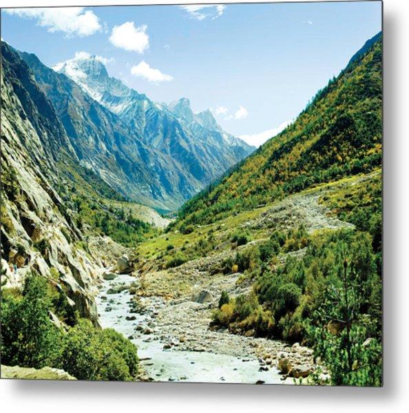 Panarama Of Valley And River Ganga Metal Print