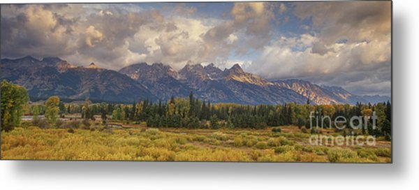 Panaroma Clearing Storm On A Fall Morning In Grand Tetons National Park Metal Print