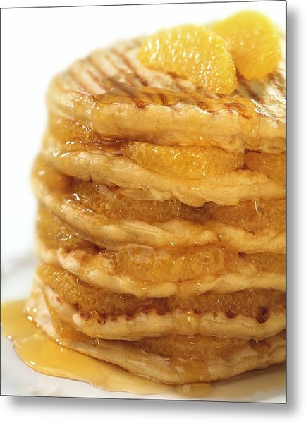 Pancakes With Oranges And Syrup Metal Print by Science Photo Library