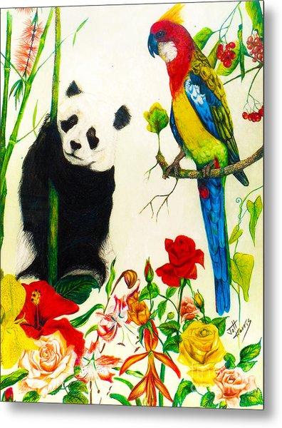 Panda And Parrot Metal Print