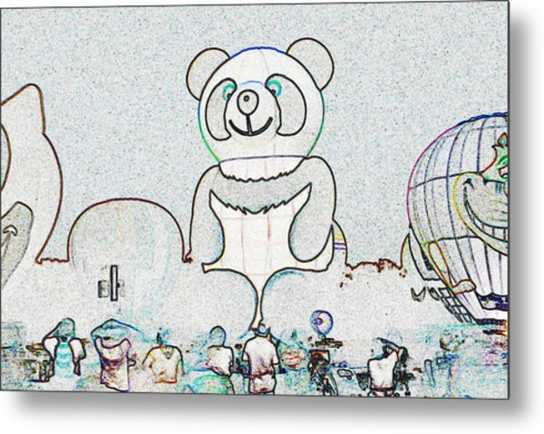 Panda Balloon Sketch Metal Print